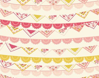 Vintage Daydreams Banner Print on Cream ~ Old Fashioned Florals ~ Designs by Dani for Riley Blake