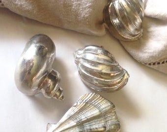 Vintage Seashell Napkins Rings by Arthur Court, Set of 4, Silver Sea Shells, Beach Decor, Seaside Cottage Dining, Original Box 1976