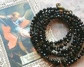 """Bracelet multirangs cristal noir """"Saint Michel"""" (Réservé)"""
