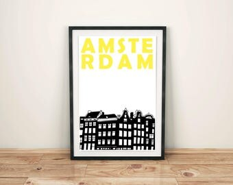 Amsterdam Print // Netherlands Art Print // Gift for Men // Amsterdam Poster // Amsterdam Art // Dutch Art // Dutch Print // Dutch Poster