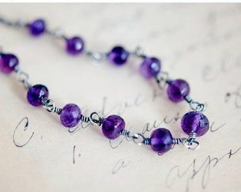 Amethyst Necklace, Amethyst Jewelry, Wire Wrapped, February Birthstone, Purple Gemstone, Sterling Silver, PoleStar, Crystal Necklace,