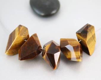 Tiger Eye Beads - Abstract Nuggets - Tiger Eye - Set of 5