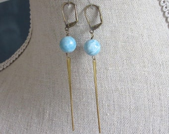 Blue Larimar and Brass Spikes Earrings