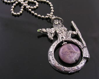 Wizard Necklace, Amethyst Necklace with Large Wizard Pendant, Witch Necklace, Witch Jewelry, Magic Jewelry, Spooky Gifts, N1244