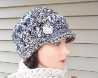 Gray Cream and Taupe Sparkle Newsboy Hat Ready to Ship