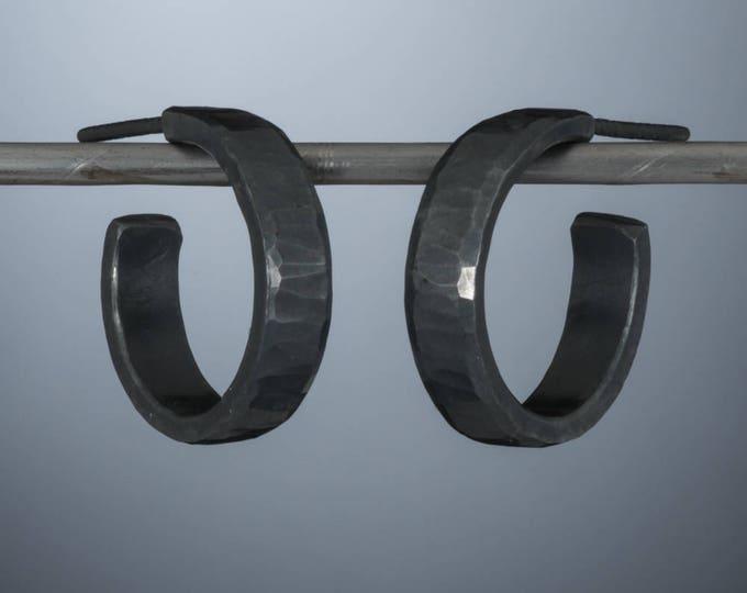 18mm x 4mm Sterling Silver, Thick Hoop Earrings