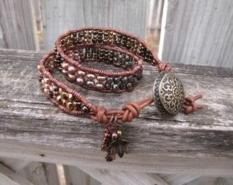 Earthy double wrap Bracelet, Beaded leather bracelet,beaded leather wrap,boho bracelet