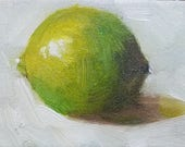 ACEO Original Oil Painting, Lime, Easel Art, Wall Decor, Kitchen Art, Food Art, Small Format Art, Free Shipping