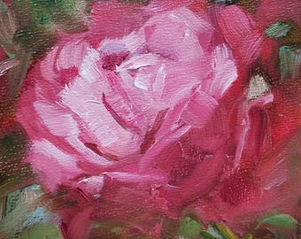 """Small Original Oil Painting, Pink Rose,  4 x 4"""", Ready to Hange, Wall Art, Cottage Chic Art"""