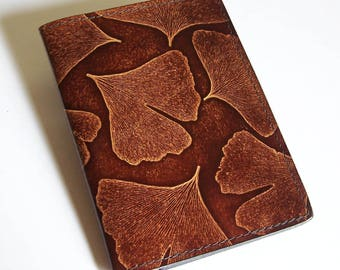 Leather Top Stub Checkbook Cover with Ginkgo Leaf Design - Leather Checkbook Holder