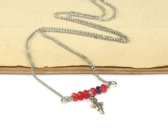 San Damiano Cross Necklace, Pink Tourmaline & Amethyst Gemstones, Stainless Steel Chain