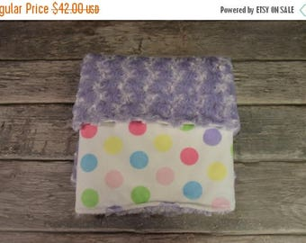 50% OFF Couture Pastel Polk dots with a lavender minky