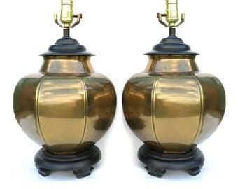 Regency Brass Ginger Jar Table Lamps