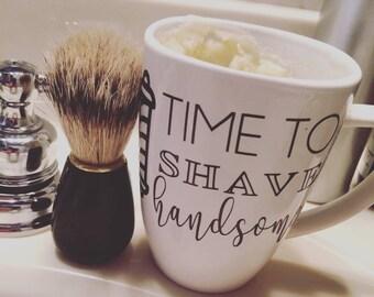 Old Fashioned Shave Soap Gift Sets Handmade All Natural Soap Time to Shave Handsome Mug mens gift