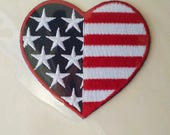 Patriotic Heart Embellishment Appliqué, Cardmaking Scrapbooking Art Supply Gift, Flag Design Decoration Findings, Stars and Stripes Crafts