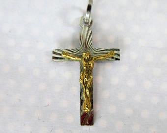 Vintage Etched 800 Silver Mixed Metal CROSS-Religious Pendant