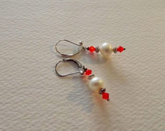 CB 67 Pearl earrings with Swarovski Siam crystals.