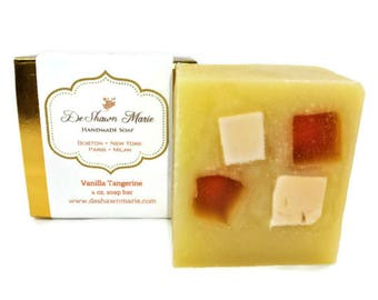 SOAP- Vanilla Tangerine Clove Soap, Tangerine Dream, Handmade Soap, Cold Process Soap, Shaving Soap, Soap Gift, Christmas Gift, Vegan Soap