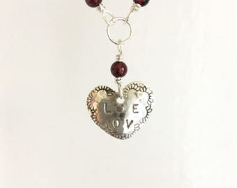 Love Necklace. Heart Necklace. Hearts. Silver Heart. Sweetheart Necklace.