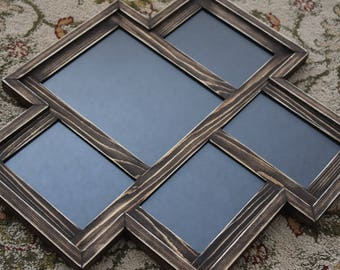 MULTI 4 Opening distressed rustic pine collage picture frame with 2) 8x10's and 2) 5x7's ... royal blue....HANDMADE