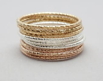 Faceted Stacking Gold or Silver Ring