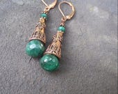 Reserved for Sally - Ancient Days Copper and Emerald Earrings
