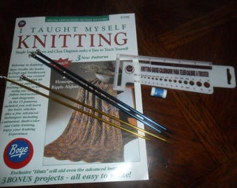 I Taught myself KNITTING by Boye -Plus Knitting Needles/Gauge/counter