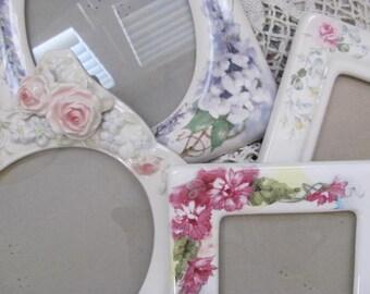 Set of 5  Romantic Porcelain Floral Picture Frames, Roses & Others