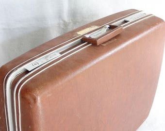 Sears Courier Samsonite Suitcase, Large, Hard Sided Vintage Luggage