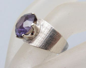 Taxco Sterling Ring Purple Glass Alexandrite Vintage Jewelry Wide Band R7198