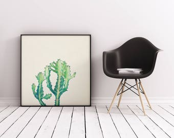 Cactus Print, Minimal Botanical Art, Gift for Gardener, Kitchen Wall Art - Dragon Bones Tree