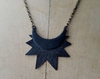 Moravian Star Pendant, Matte Black Sun and Moon, Crescent Moon Necklace, Celestial, Gold and Black Shimmet Chain