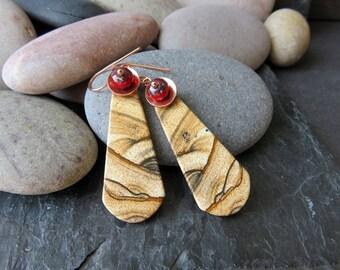 The Mummy's Return -  Picture Jasper Slice Earrings