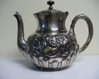 Antique Silver Teapot with Raised Flowers