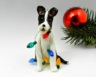 Smooth Collie Tricolor Christmas Ornament Figurine Porcelain Clay Lights
