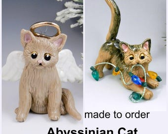 Abyssinian Cat Christmas Ornament Figurine Made to Order in Porcelain