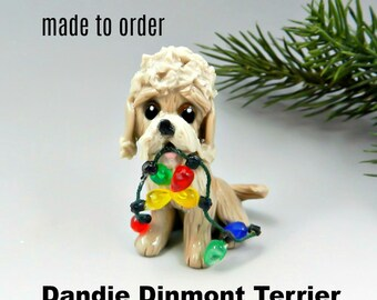 Dandie Dinmont Terrier Made to Order Christmas Ornament Figurine in Porcelain