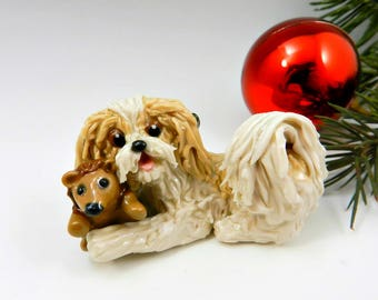 Havanese Gold Cream Christmas Ornament Figurine Toy Hedgehog Porcelain