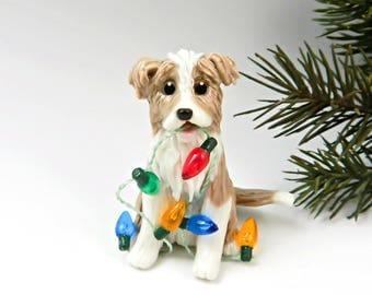 Border Collie Gold Blonde Christmas Ornament Figurine Porcelain