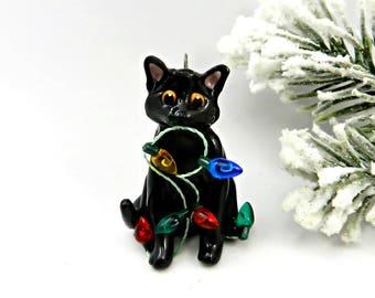 Black Cat Christmas Ornament Figurine Lights Porcelain