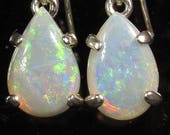 Australian Opals 1.50 ctw  / .925 Sterling Silver Earrings /  Fast Free Shipping / Free Gift Box  / Free Gift Wrap