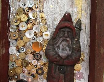 Frosty Day Iron Santa and Tree,  Barnwood