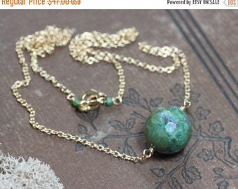 SALE Ruby in Fuchsite Necklace Gold Necklace Rustic Jewelry Turquoise Green Faceted Bead