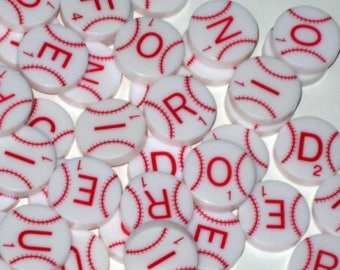 100 Scrabble Baseball Letters for Altered Art, Collage, Scrapbooking etc.