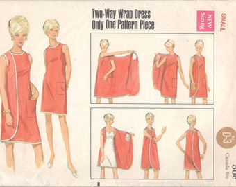 Butterick 4699 1960s Misses 3 Armhole Wrap Dress Pattern Womens Vintage Sewing Pattern Size Small Bust 31 32