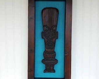 Tropics Tiki Framed Art - Turquoise - Carving Witco Retro Bar Room Decor