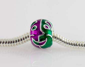 Comedy Tragedy Charm, Slide, Theater Mask Bead for Bracelet, Large Hole Bead Purple Green Enamel Sterling Silver Charm, Mardi Gras Jewelry