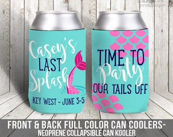 time to party mermaid bachelorette party can coolies, beverage insulators for wedding bachelorette parties - party our tails off MCC-006