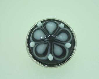 Handmade Lampwork Interchangabe Popper / Chunk White on Black SRA FHF