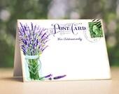 Wedding Place Cards Lavender In Mason Jar Postcard Tent Style Place Cards or Table Place Cards #180